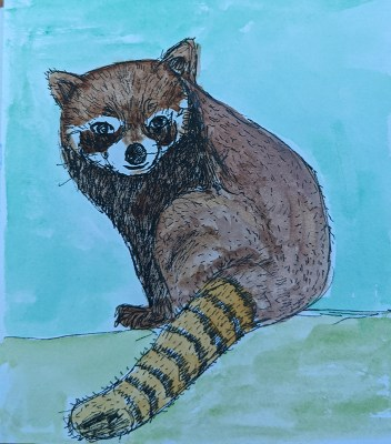 """Day 18 – Raccoon. Just a little painting in a 4×4\"""" sketchbook. Cartridge paper. sb"""