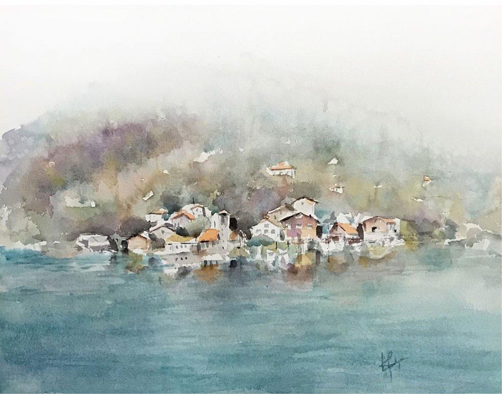 switzerland landscape watercolour by Vidya Lalgudi Jaishankar