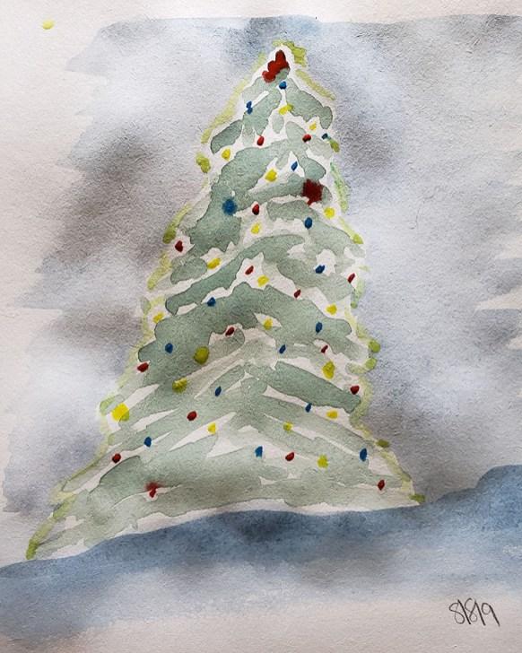 Art by Shanyn Christmas Tree Watercolor