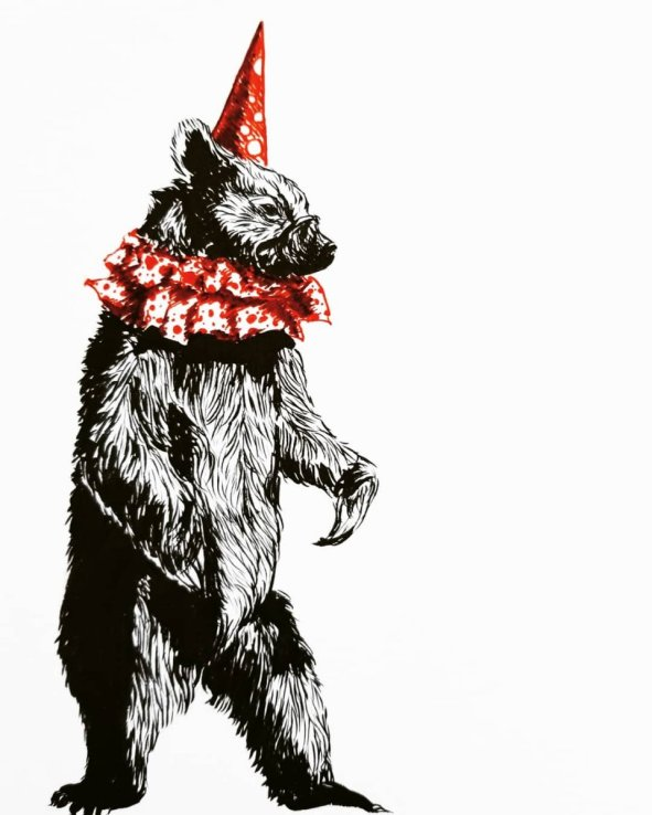 Bear In Party Hat Drawing