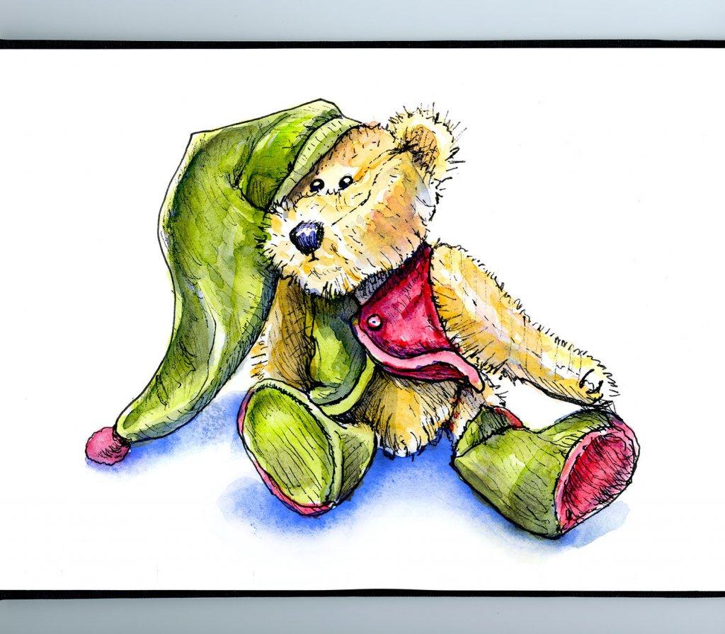 Vintage Teddy Bear Watercolor Illustration Sketchbook Detail