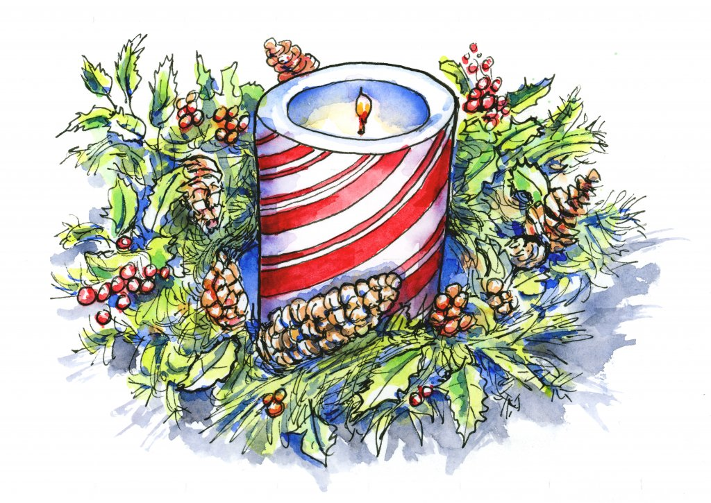 Christmas Advent Candle Wreath Watercolor Painting