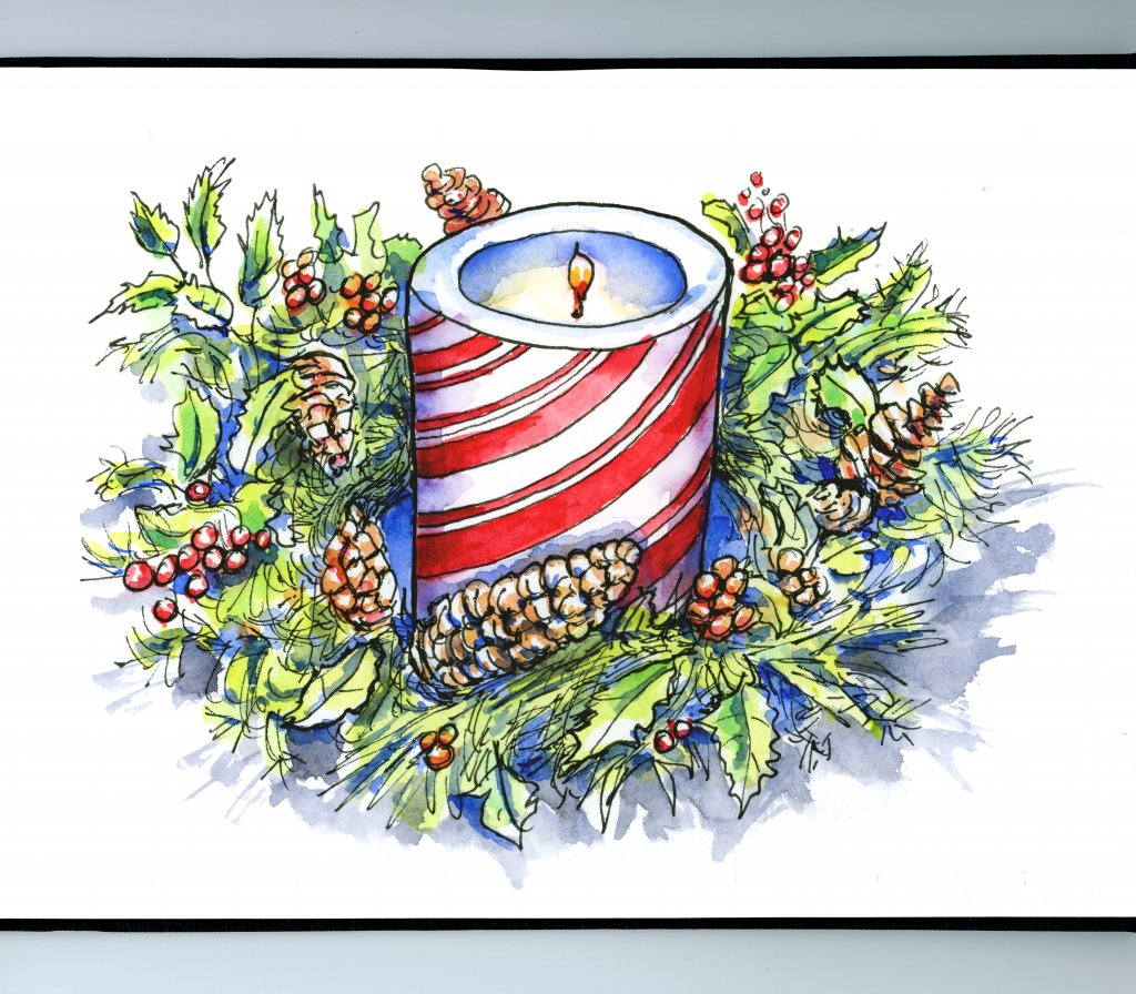 Christmas Advent Candle Wreath Watercolor Painting Sketchbook Detail