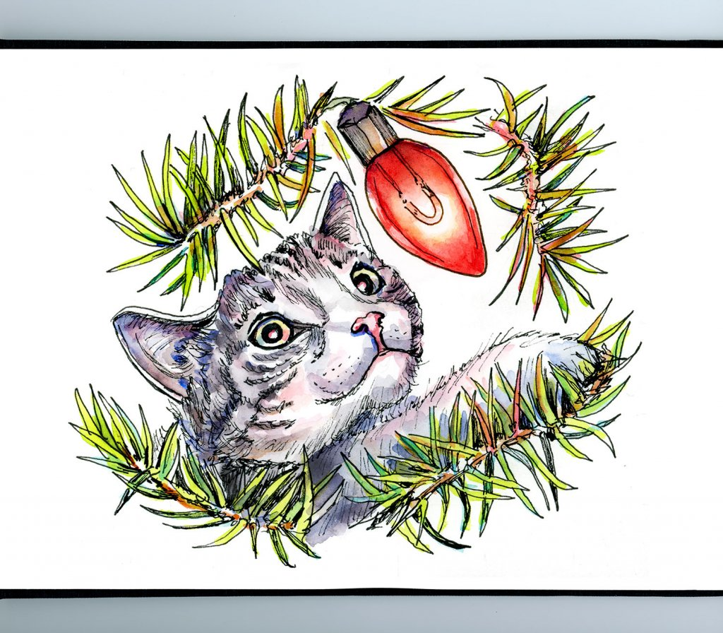 Cat In Christmas Tree Lights Watercolor Illustration Sketchbook Detail