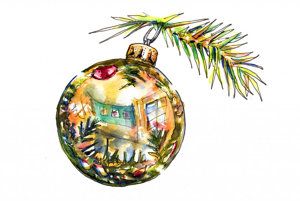 Christmas Ornament Gold Reflection Watercolor Painting