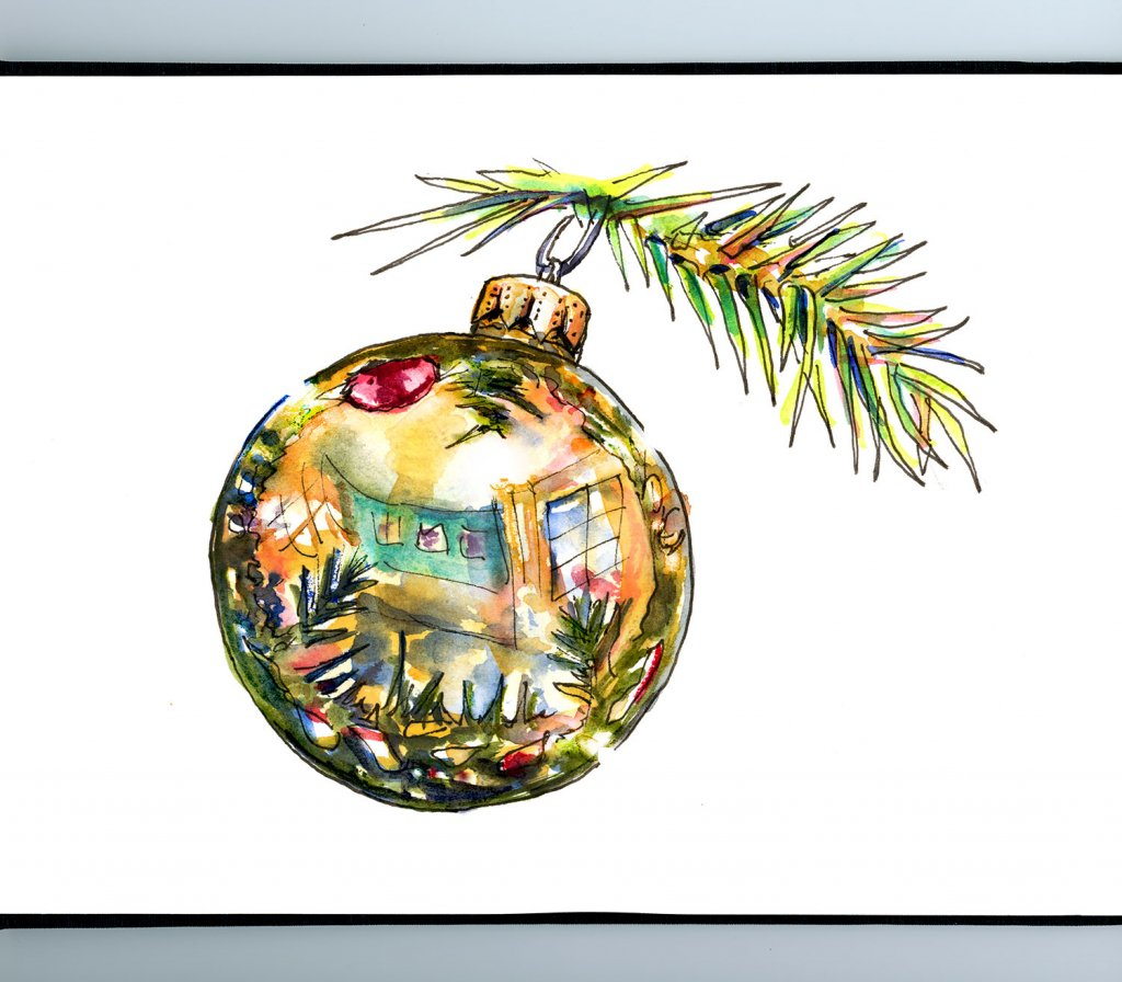 Christmas Ornament Gold Reflection Watercolor Painting Sketchbook Detail