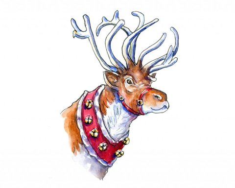 Reindeer Waiting To Fly Watercolor Painting