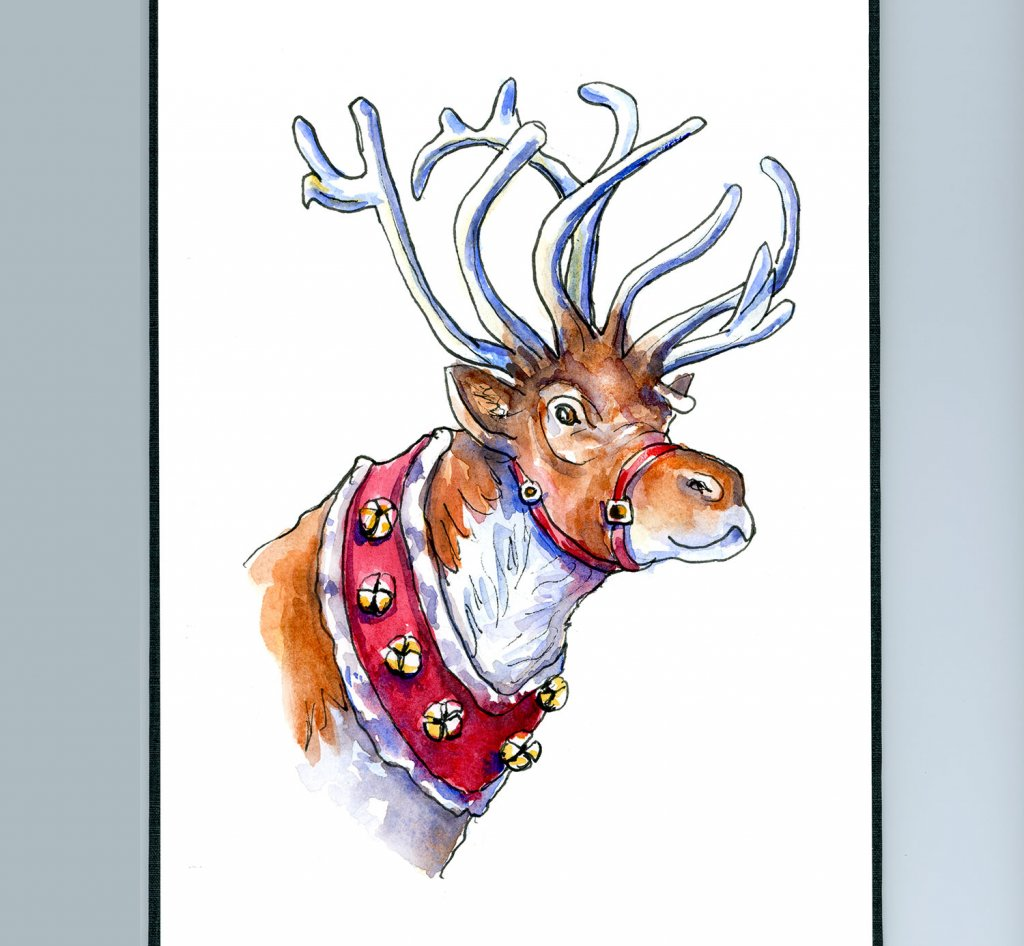 Reindeer Waiting To Fly Watercolor Painting Sketchbook Detail