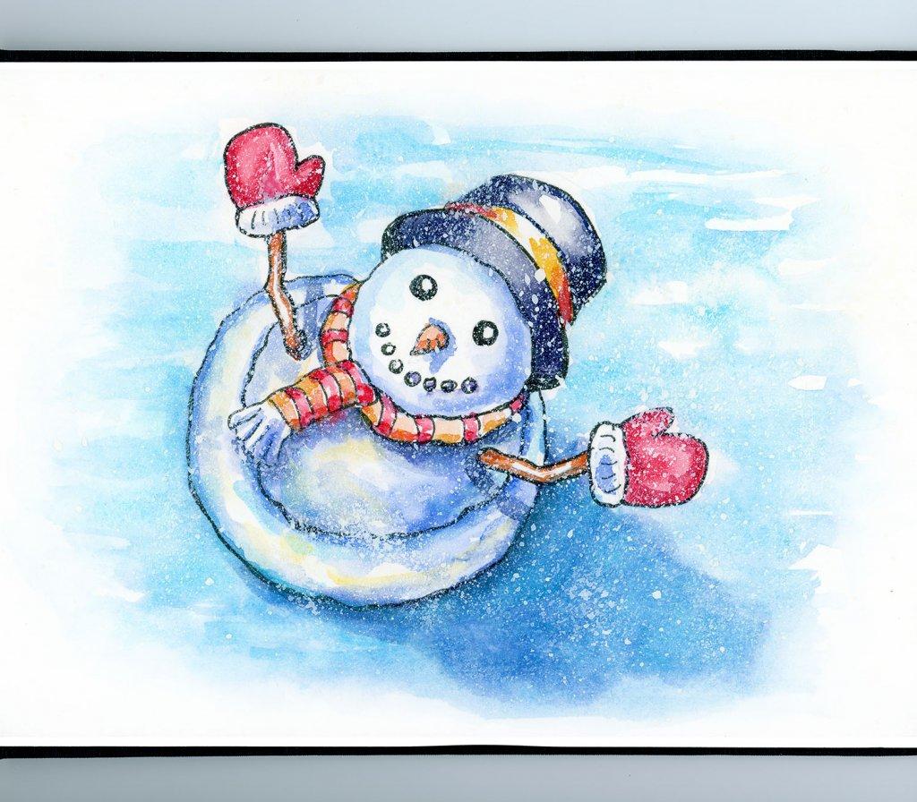 Snowman Top View Happy Winter Watercolor Painting Sketchbook Detail