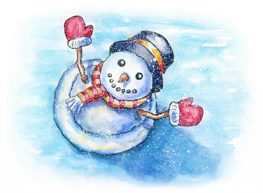 Snowman Top View Happy Winter Watercolor Painting