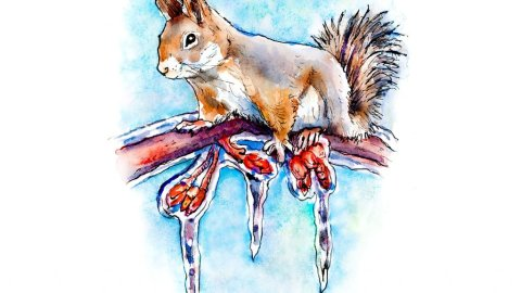 Squirrel Winter Icicles Tree Branch Watercolor Painting