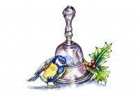 Bird Bell Holly Watercolor Illustration