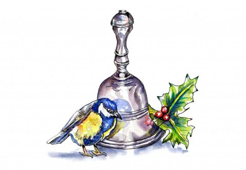 Bird Bell Holly Watercolor Illustration