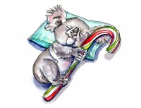 Baby Koala Candy Cane Christmas Watercolor Painting