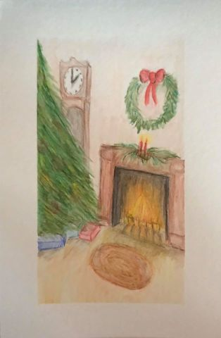 Dec. 22 watercolor pencil (days 17, 25, 20 Tree, Gifts, Fireplace & day 13 Toy) Day22_17Tree_25G