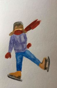 Dec. 30 watercolor (days 27, 29 & 30 Mittens, Skates & Scarf) Day30_27Mittens_29Skates_30Sca