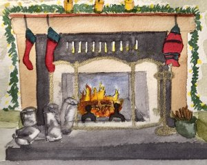 Falk household fireplace…two humans one cat. Falk Fireplace