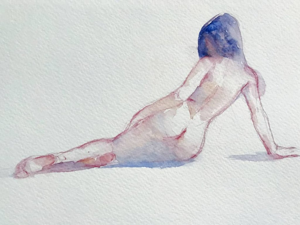 Female Nude Watercolor Painting