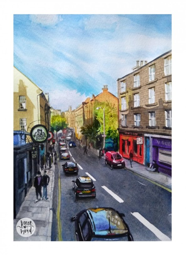 Glasgow Scotland Street Watercolour Painting
