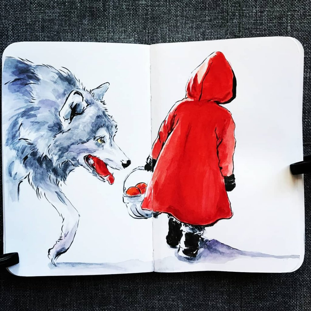 Little Red Riding Hood And Wolf Watercolor Painting