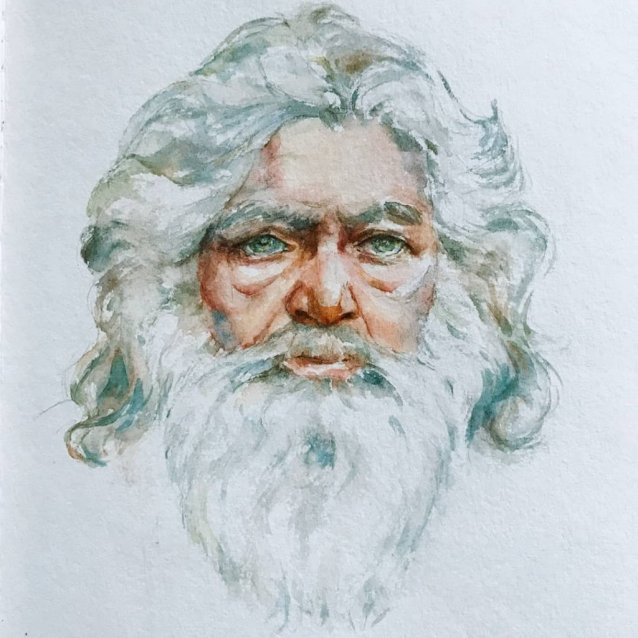 Man With Beard Watercolor Painting