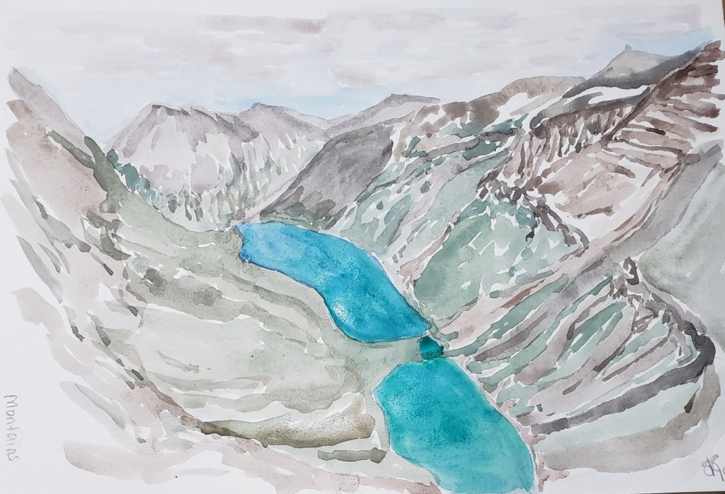 Mountains Watercolor Sketch