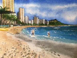 Went to Waikiki Beach in November, the woman in the painting has a scarf on her hat! Waikiki Wow!