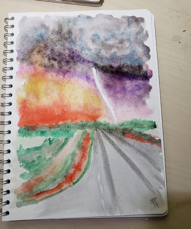 Watercolor Road Sky