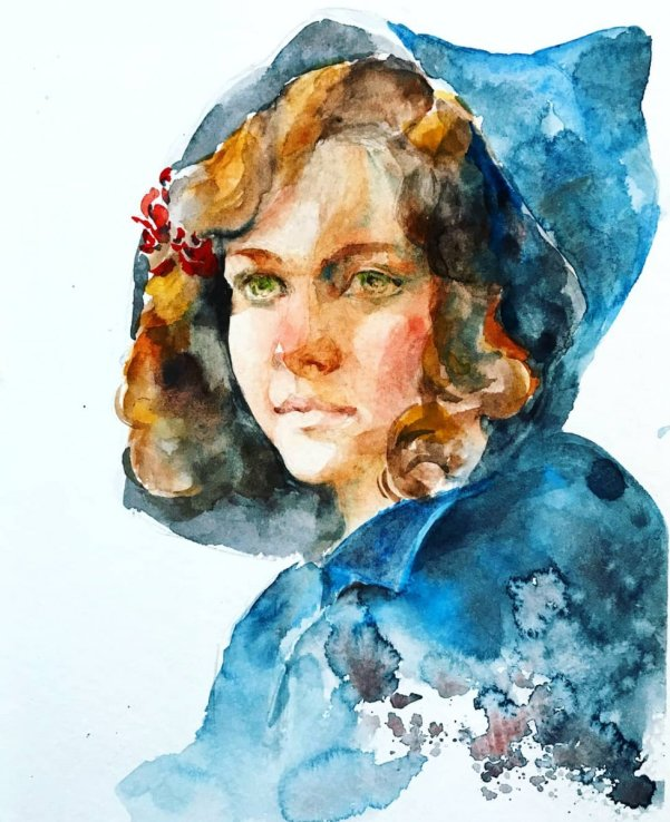 Young Girl Portrait Watercolor by Milena Guberinic