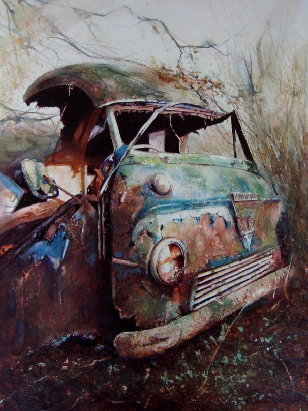 Old Car Watercolour Painting Rust by David Poxon