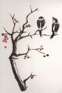 Two birds in winter. Water-diluted Sépia and Sanguine Sennelier inks and black China ink applied wi
