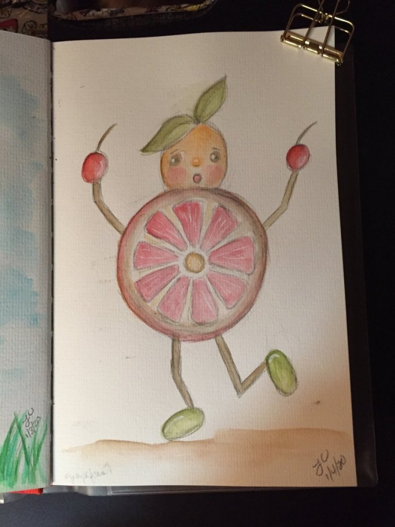When you have an imaginative brain, you never know what will land on your paper. Grapefruit guy. 95E