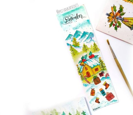 Christmas Bookmark Watercolor Painting