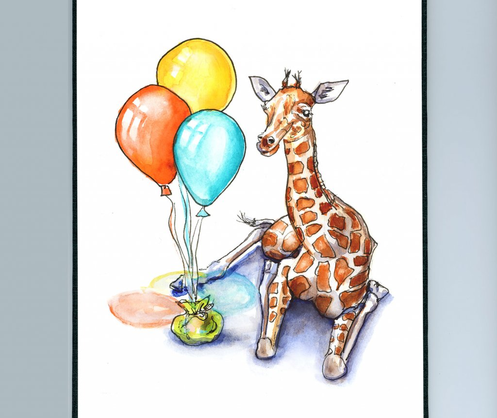 Baby Giraffee And Balloons Watercolor Painting Sketchbook Detail