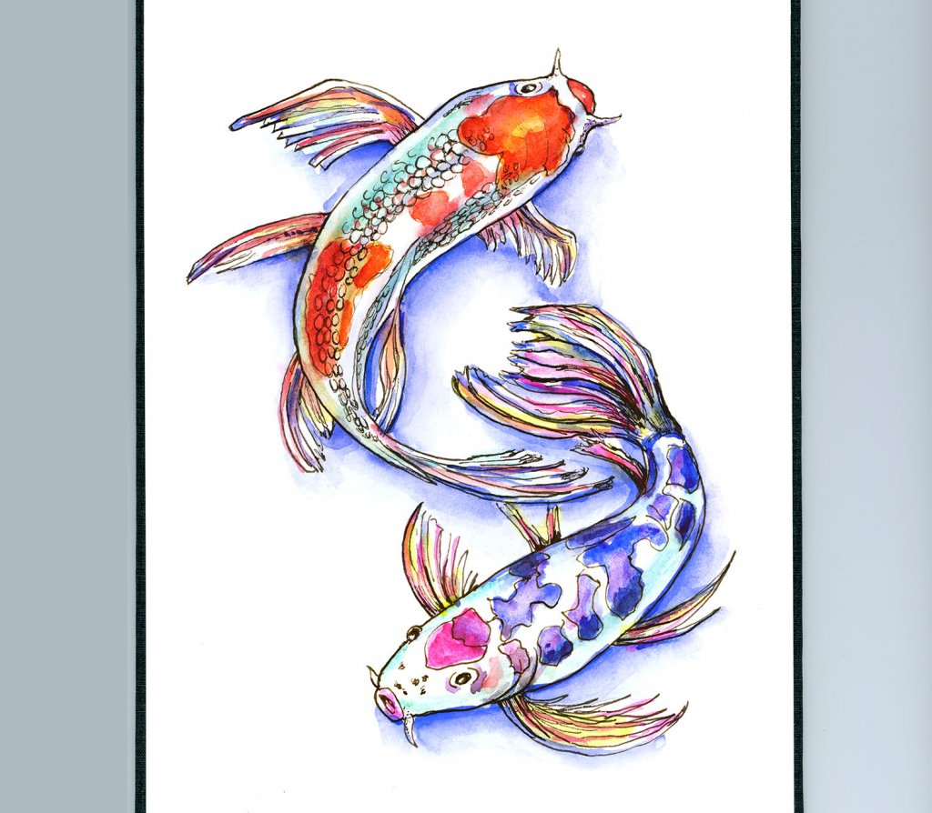Two Koi Fish Watercolor Illustration Sketchbook Detail