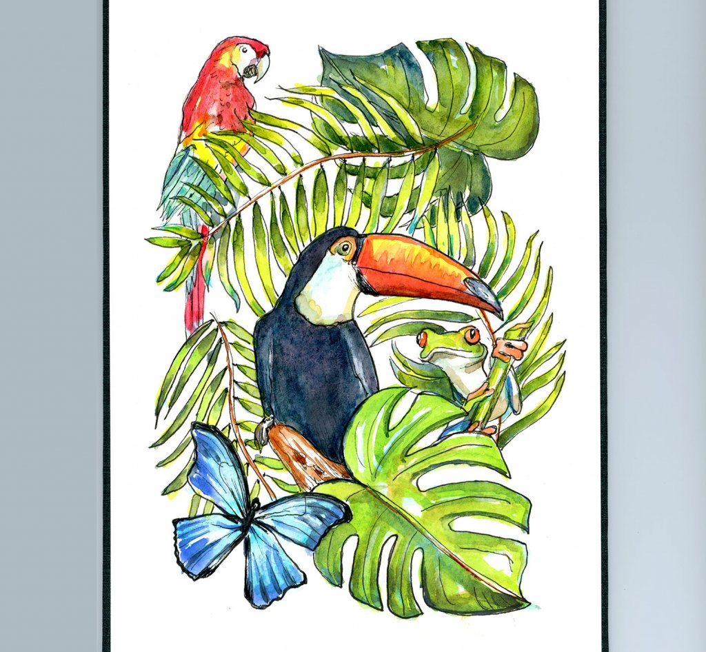 Rainforest Animals Watercolor Illustration Sketchbook Detail