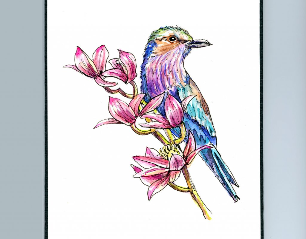 Day 3 - Bird And Flowers Lilac Breasted Roller Watercolor Painting Sketchbook Detail