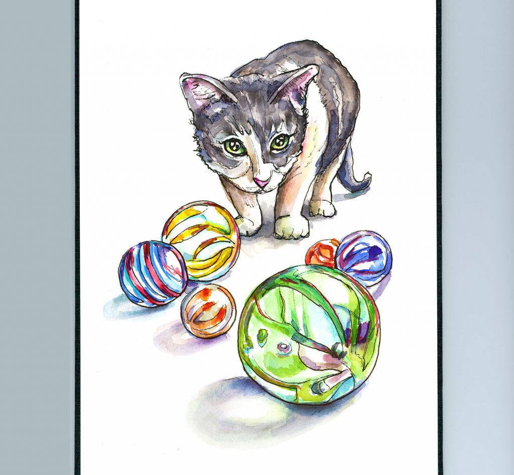 Marbles And Kitten Watercolor Painting Sketchbook Detail