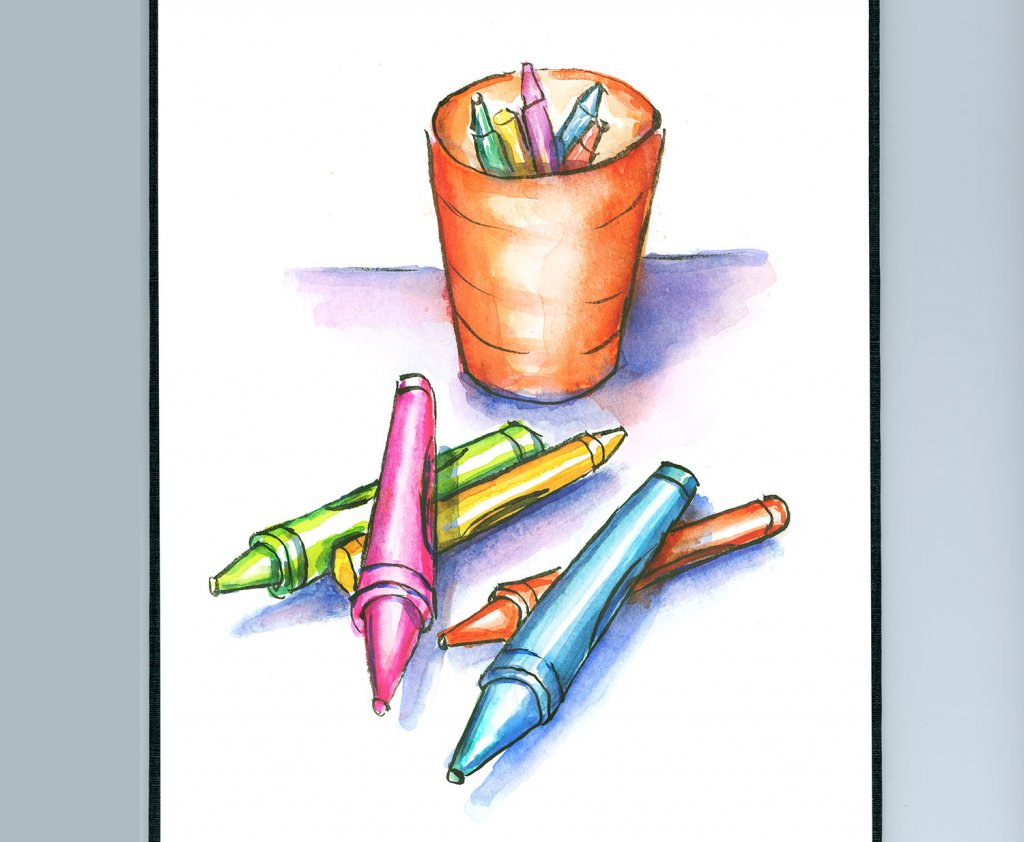 Crayons Scattered And Cup Watercolor Painting Sketchbook Detail