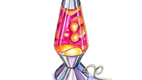 Lava Lamp Pink Yellow Purple Watercolor Painting