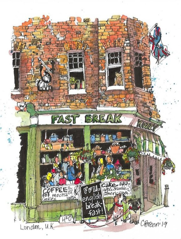 English Shop Fast Break Illustration Charlie Breen