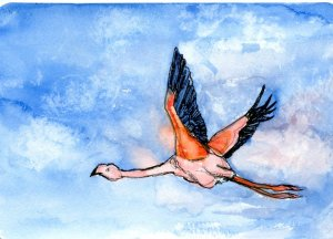 Five minute Flamingo-I was in a hurry when I did this one! -#PostcardsForTheLunchBag #schmincke_offi