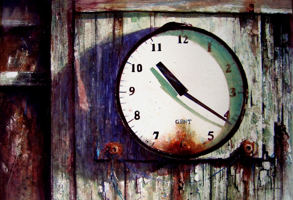 Killing Time Old Vintage Clock Watercolor Painting by David Poxon