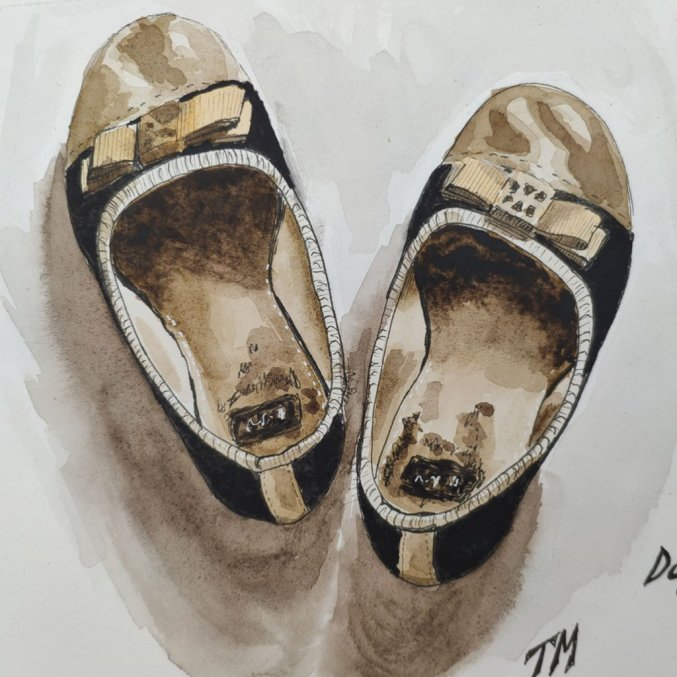 Little Shoes Watercolor by Tatiana Manukovskaya