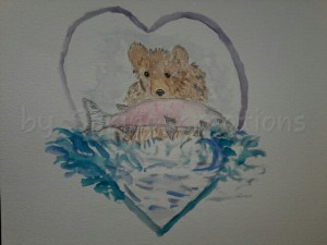 Day 15 of 100 days of hearts. My mood is a sharing one. I chose to put a baby bear in this artwork t
