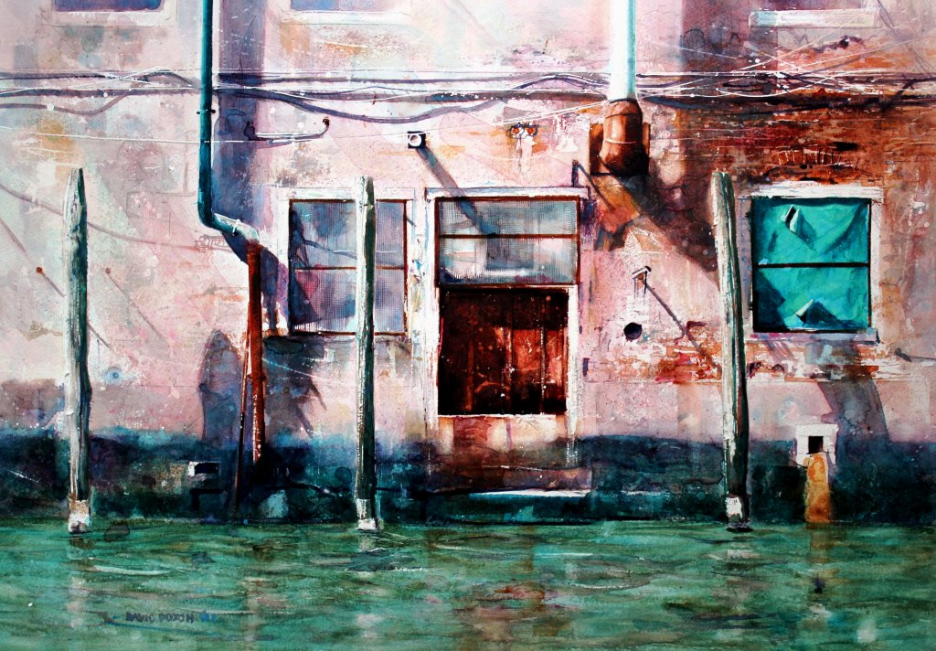 House on water watercolour painting by David Poxon
