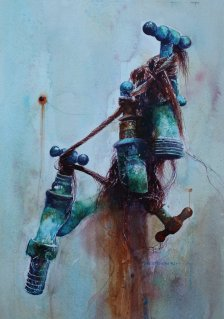Water Taps Watercolour Painting by David Poxon