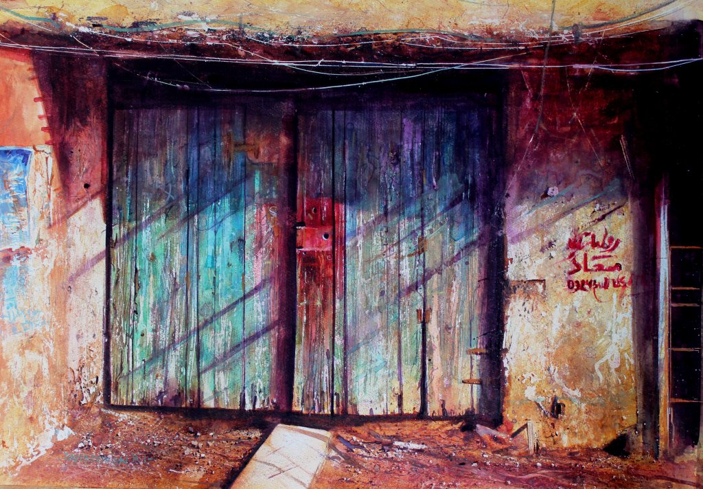 Old Painted Door Watercolour Painting by David Poxon