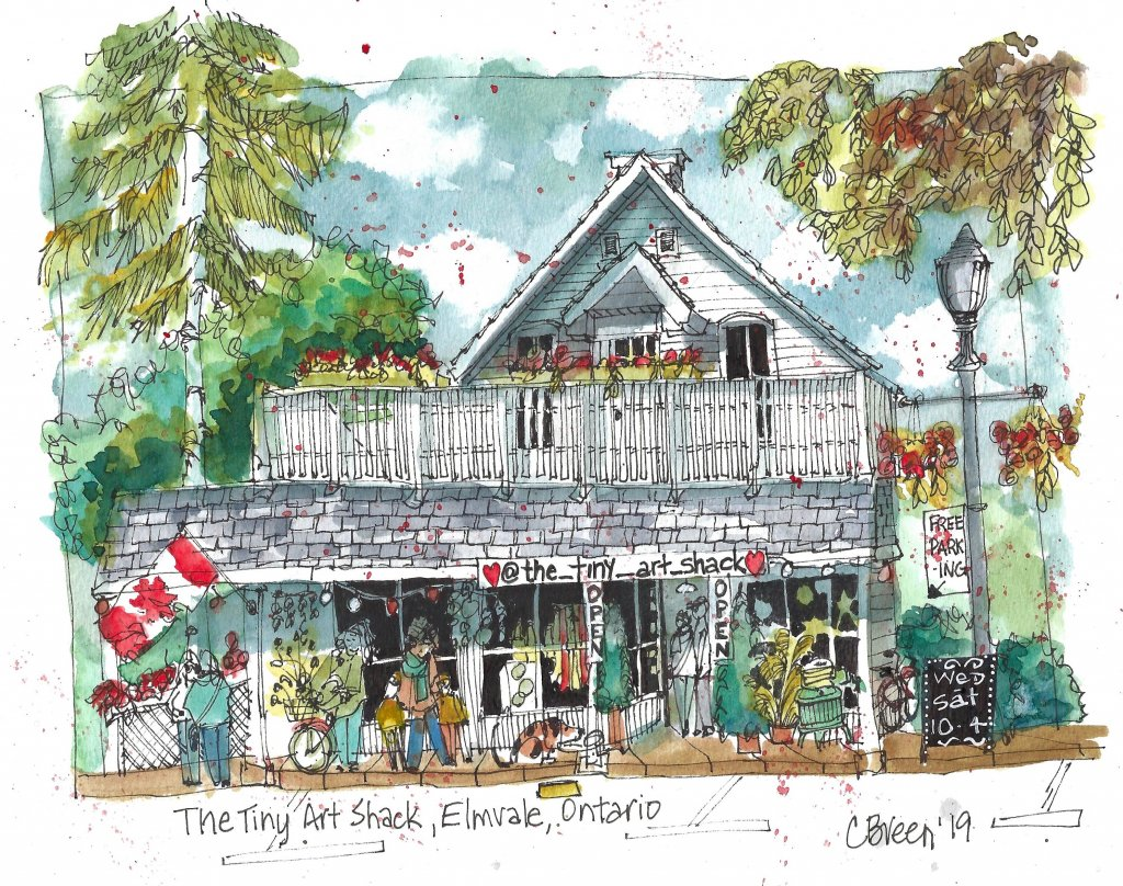 The Tiny Art Shack Elmvale Ontario Urban Sketch