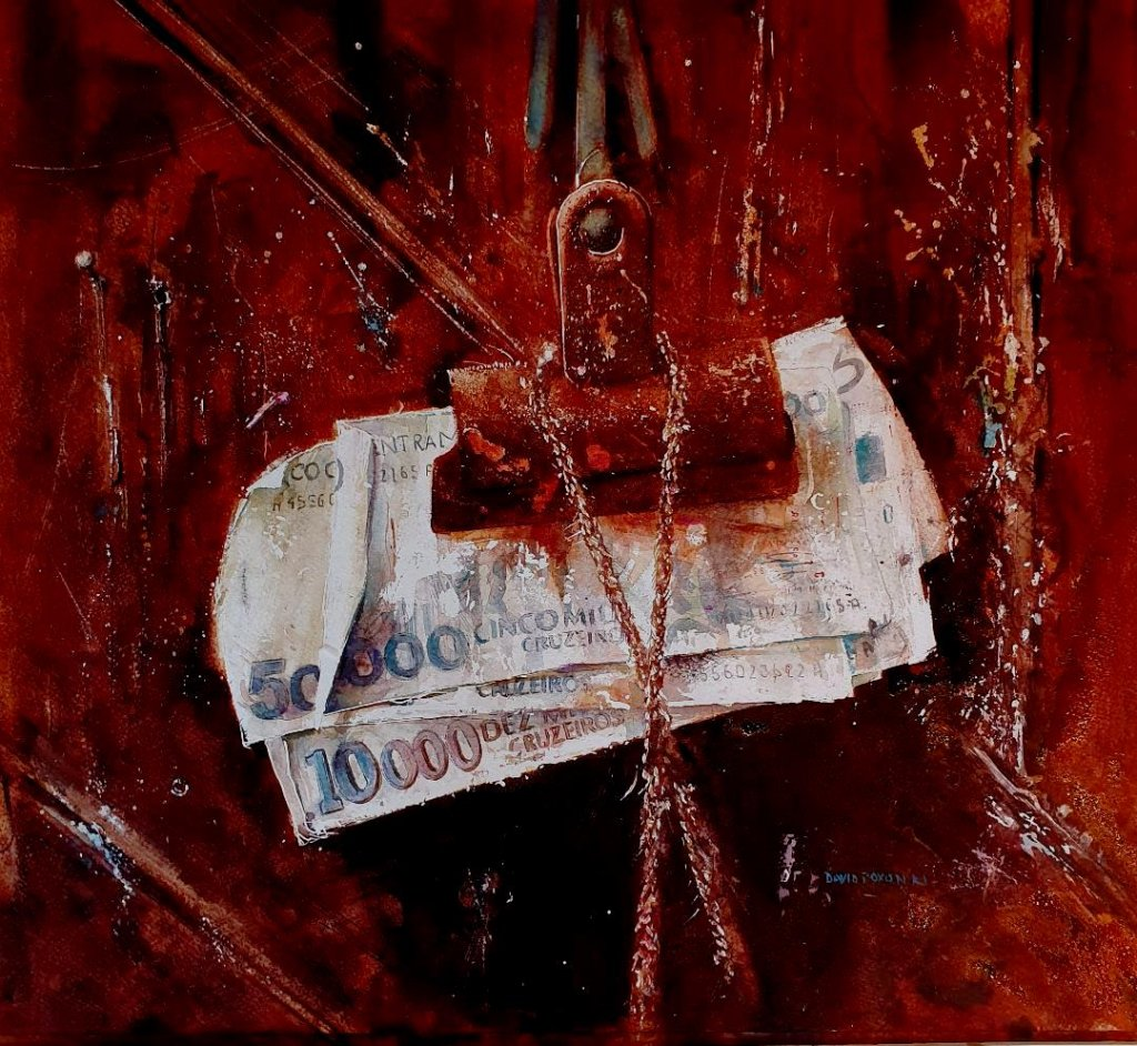 Money On Red Background Watercolour Painting by David Poxon